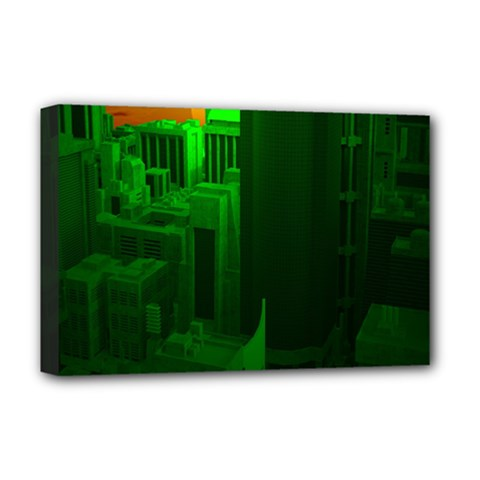 Green Building City Night Deluxe Canvas 18  x 12