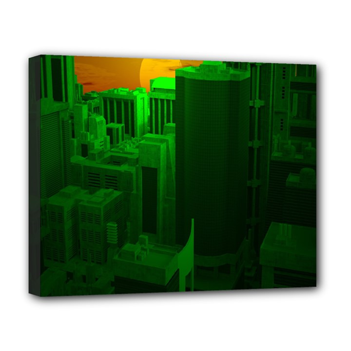 Green Building City Night Deluxe Canvas 20  x 16