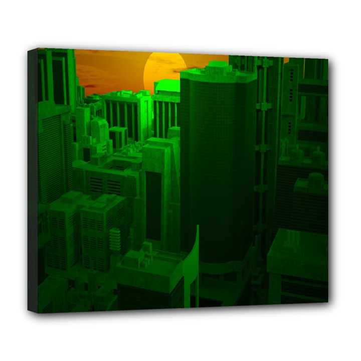 Green Building City Night Deluxe Canvas 24  x 20
