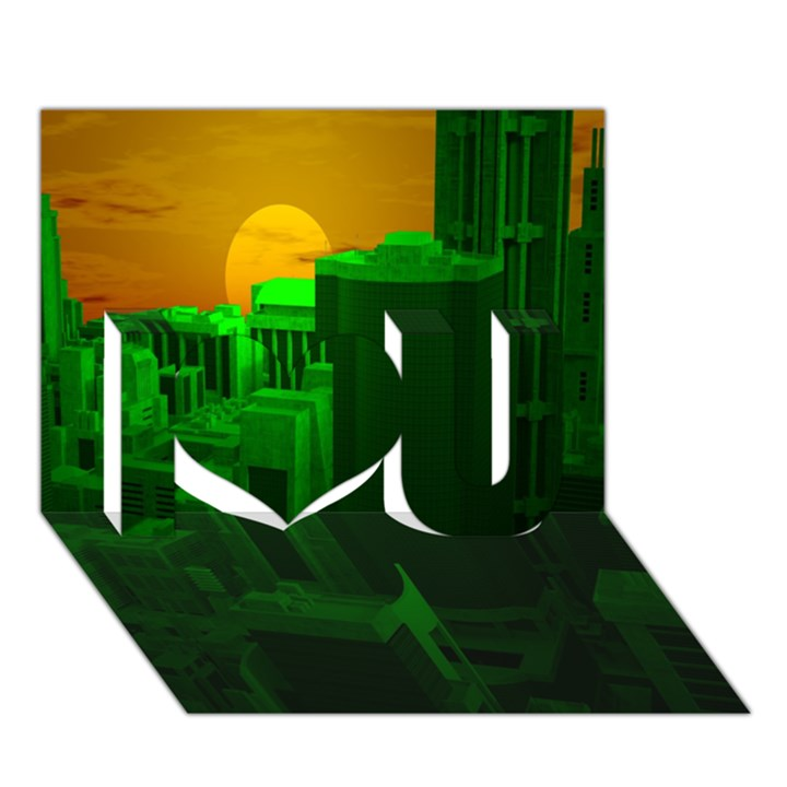 Green Building City Night I Love You 3D Greeting Card (7x5)