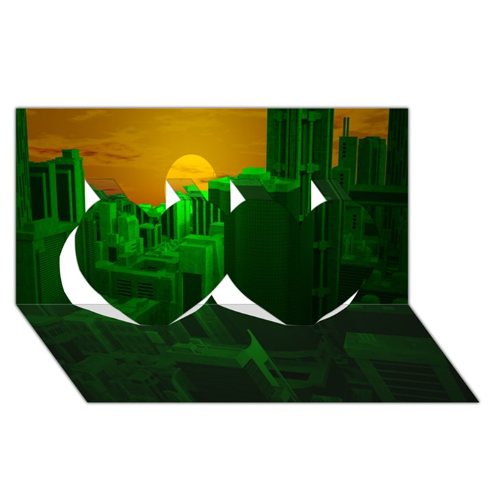 Green Building City Night Twin Hearts 3D Greeting Card (8x4)