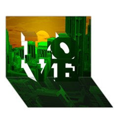 Green Building City Night LOVE 3D Greeting Card (7x5)