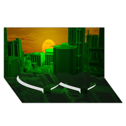 Green Building City Night Twin Heart Bottom 3D Greeting Card (8x4)