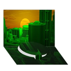 Green Building City Night Circle Bottom 3D Greeting Card (7x5)
