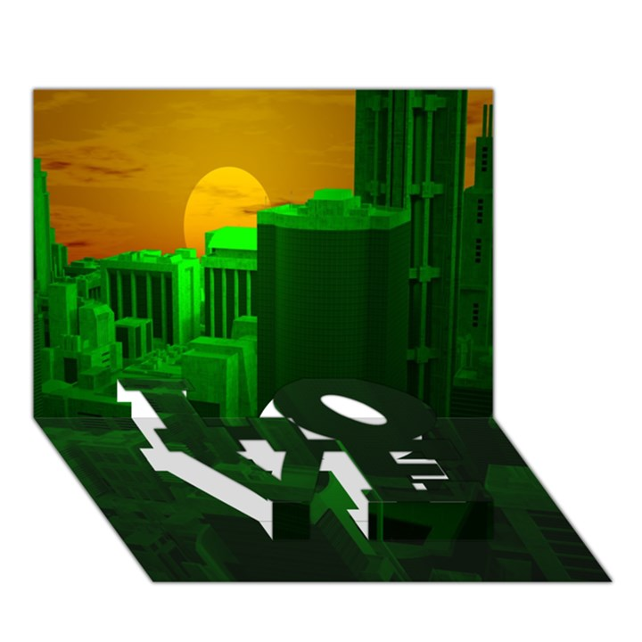 Green Building City Night LOVE Bottom 3D Greeting Card (7x5)