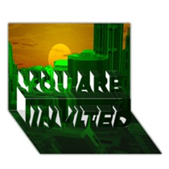 Green Building City Night YOU ARE INVITED 3D Greeting Card (7x5)