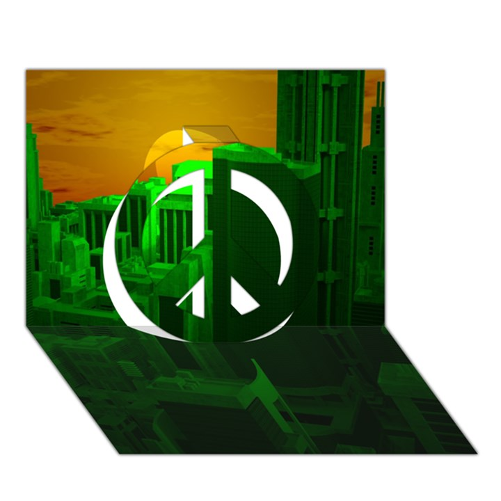 Green Building City Night Peace Sign 3D Greeting Card (7x5)