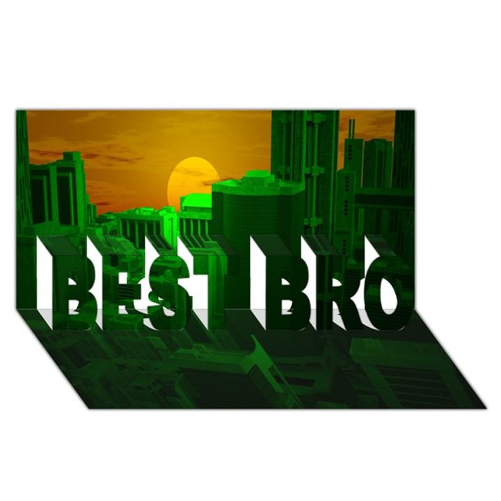 Green Building City Night BEST BRO 3D Greeting Card (8x4)