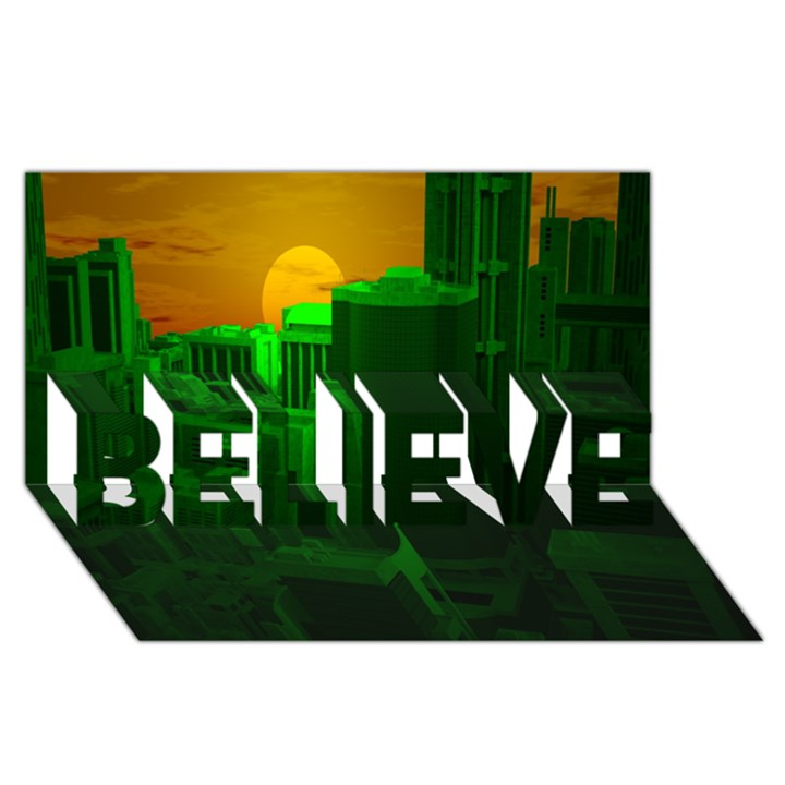 Green Building City Night BELIEVE 3D Greeting Card (8x4)