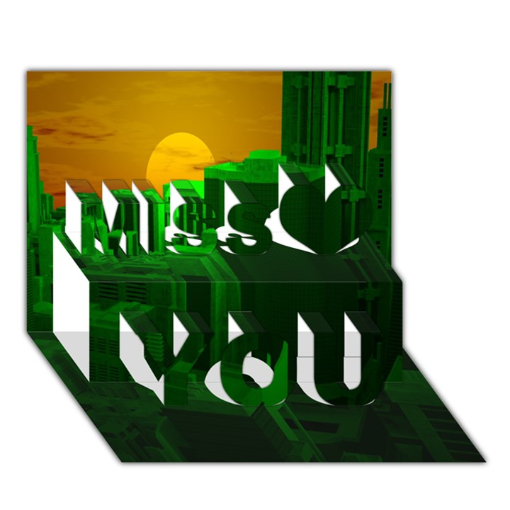 Green Building City Night Miss You 3D Greeting Card (7x5)
