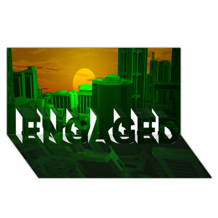 Green Building City Night ENGAGED 3D Greeting Card (8x4)