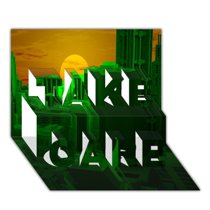 Green Building City Night TAKE CARE 3D Greeting Card (7x5)