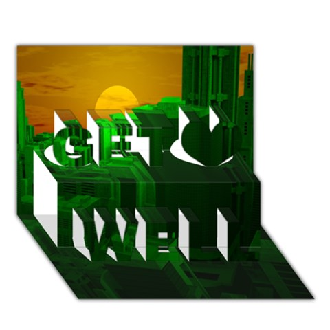 Green Building City Night Get Well 3D Greeting Card (7x5)