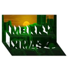 Green Building City Night Merry Xmas 3D Greeting Card (8x4)