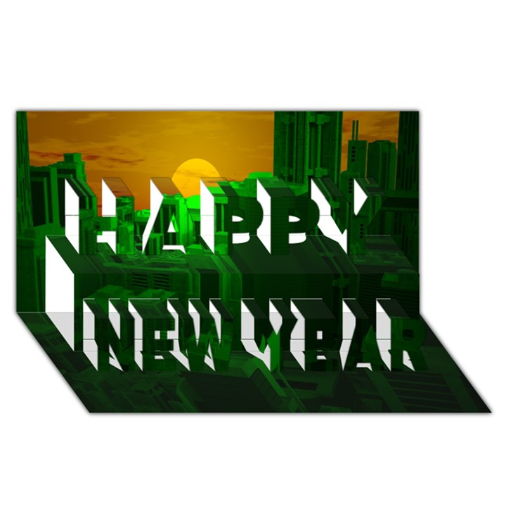Green Building City Night Happy New Year 3D Greeting Card (8x4)