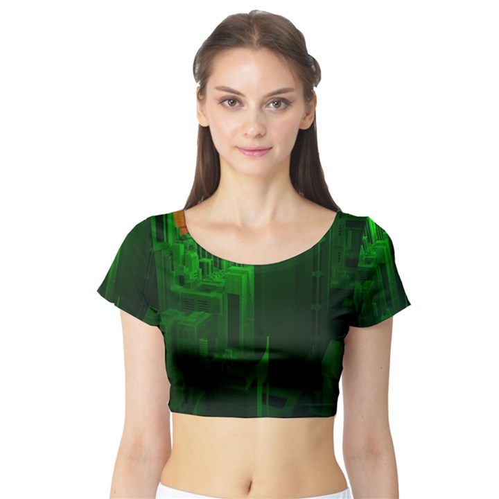 Green Building City Night Short Sleeve Crop Top (Tight Fit)