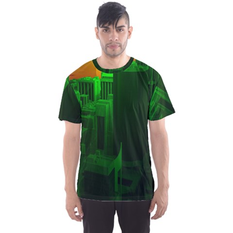 Green Building City Night Men s Sport Mesh Tee