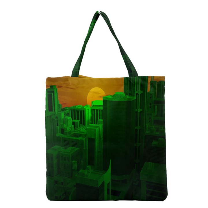 Green Building City Night Grocery Tote Bag