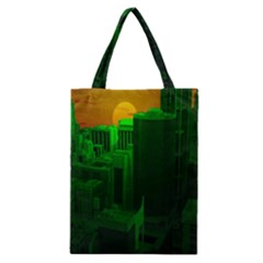Green Building City Night Classic Tote Bag