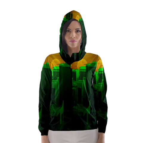 Green Building City Night Hooded Wind Breaker (Women)