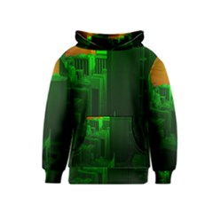 Green Building City Night Kids  Pullover Hoodie