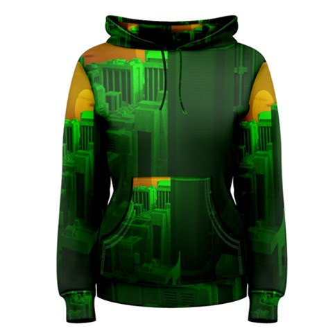 Green Building City Night Women s Pullover Hoodie