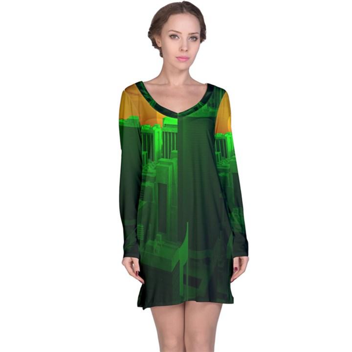 Green Building City Night Long Sleeve Nightdress