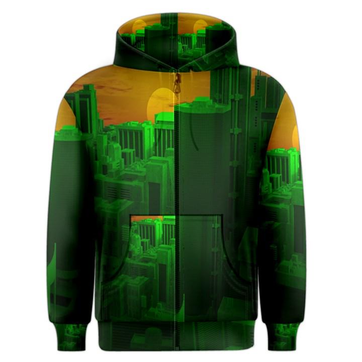 Green Building City Night Men s Zipper Hoodie