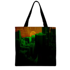 Green Building City Night Zipper Grocery Tote Bag