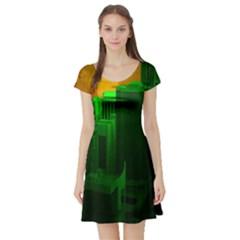 Green Building City Night Short Sleeve Skater Dress
