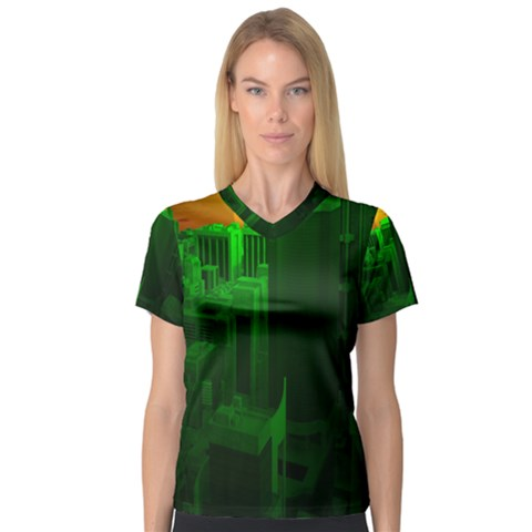 Green Building City Night Women s V-Neck Sport Mesh Tee