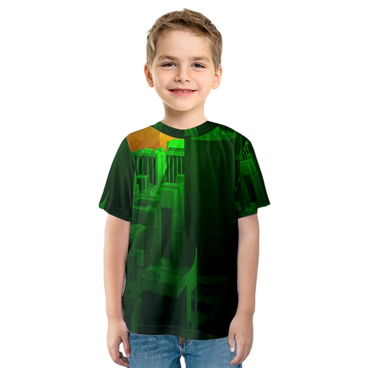 Green Building City Night Kids  Sport Mesh Tee