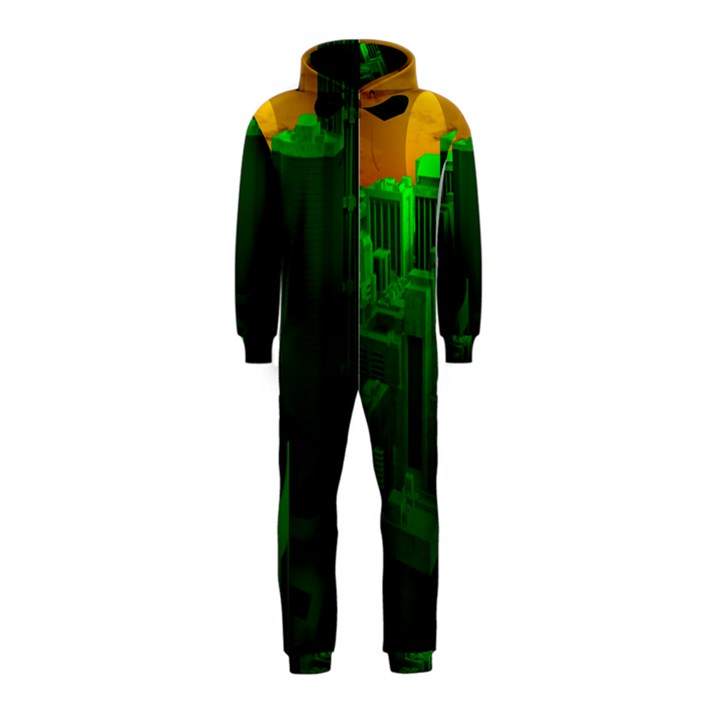 Green Building City Night Hooded Jumpsuit (Kids)