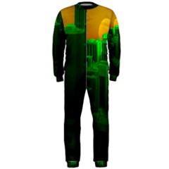 Green Building City Night OnePiece Jumpsuit (Men)