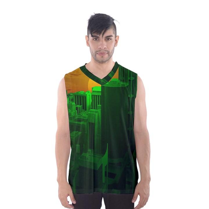 Green Building City Night Men s Basketball Tank Top