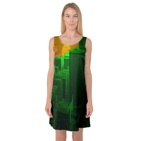 Green Building City Night Sleeveless Satin Nightdress
