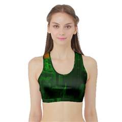 Green Building City Night Sports Bra with Border