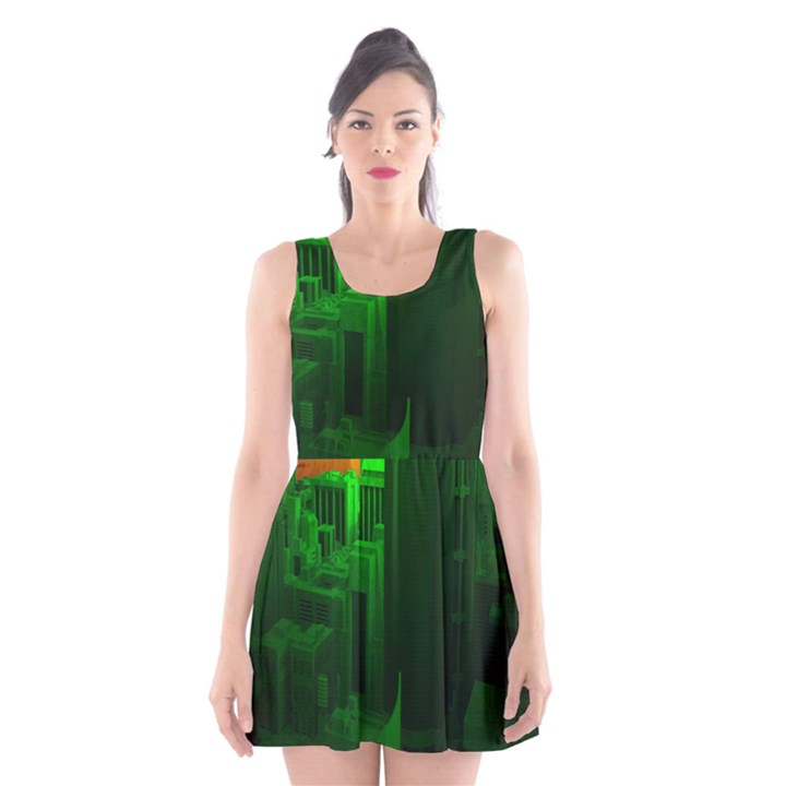 Green Building City Night Scoop Neck Skater Dress