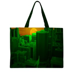 Green Building City Night Large Tote Bag