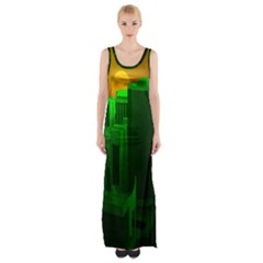Green Building City Night Maxi Thigh Split Dress