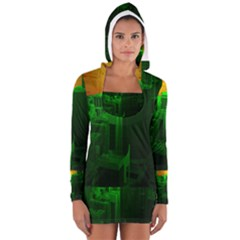 Green Building City Night Women s Long Sleeve Hooded T-shirt