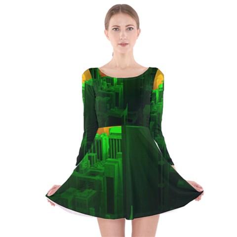 Green Building City Night Long Sleeve Velvet Skater Dress