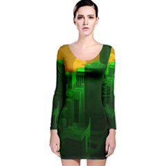 Green Building City Night Long Sleeve Velvet Bodycon Dress