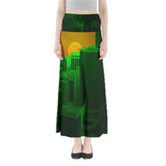 Green Building City Night Maxi Skirts