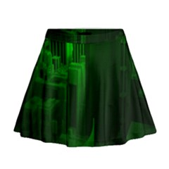 Green Building City Night Mini Flare Skirt