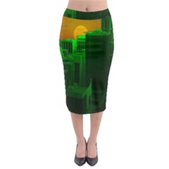 Green Building City Night Midi Pencil Skirt