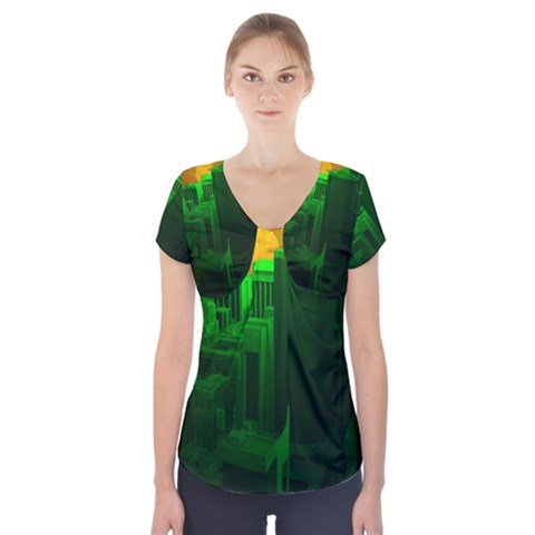 Green Building City Night Short Sleeve Front Detail Top