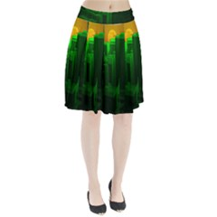 Green Building City Night Pleated Skirt