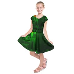 Green Building City Night Kids  Short Sleeve Dress