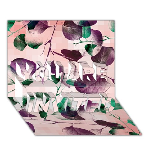 Spiral Eucalyptus Leaves YOU ARE INVITED 3D Greeting Card (7x5)